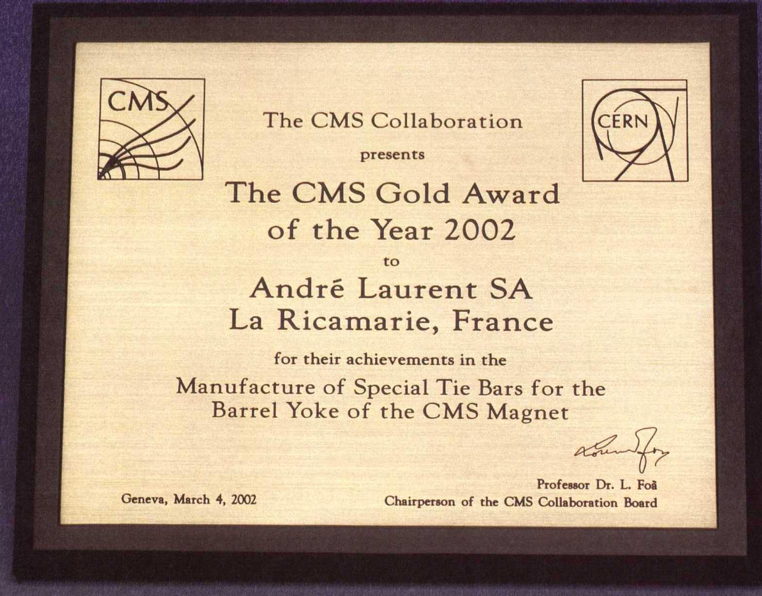 Gold Award for Special Tie Bars for Barrel Yoke (CMS MAGNET)
